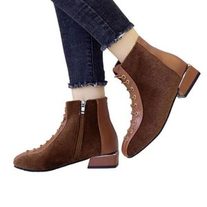 Chunky Bottes Courtes Femmes Bas Talons Casual Chaussures Bottines Lacetsyini10418 Flock À 8NwP0nXZOk