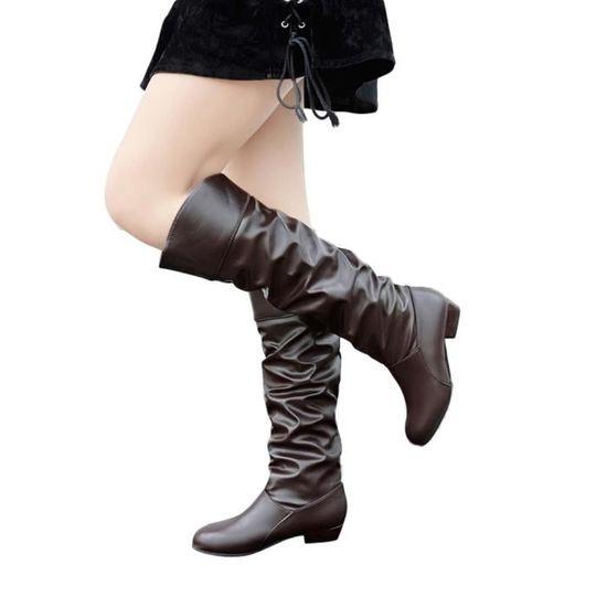 Femmes Bottes de genou Hight couleur solide Bottes plates en cuir Mules Bottes Party Chaussures  Café - Achat / Vente botte