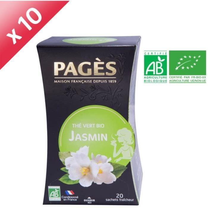 PAGES Lot de 10 Thés Vert Jasmin Bio
