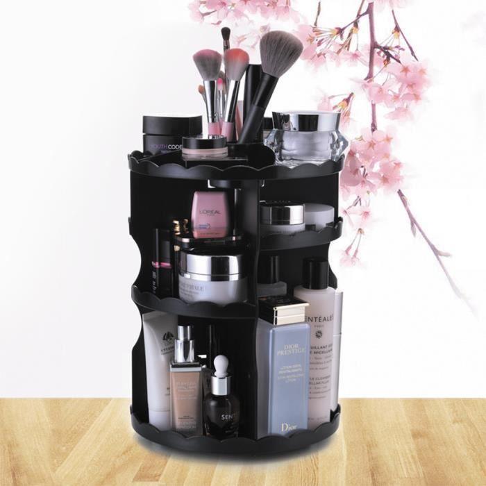 Rangement maquillage 360° φ23.5*30.5cm boite de rangement présentoir cosmétique Noir Noir ...