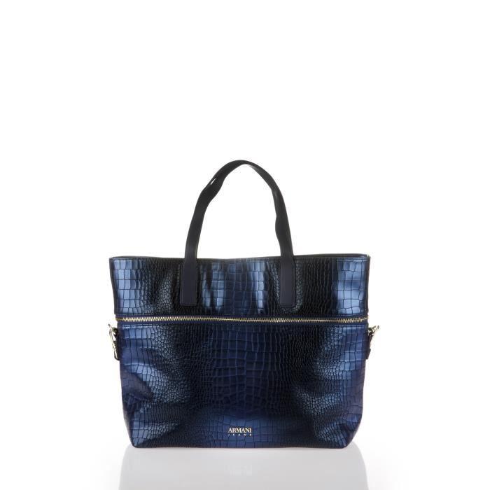 ARMANI JEANS - Sac Cabas Bleu Effet Croco Métallisé - Femme Bleu ... 581a107393a0
