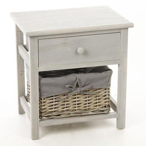 table de chevet avec panier de rangement bois achat vente chevet table de chevet avec. Black Bedroom Furniture Sets. Home Design Ideas