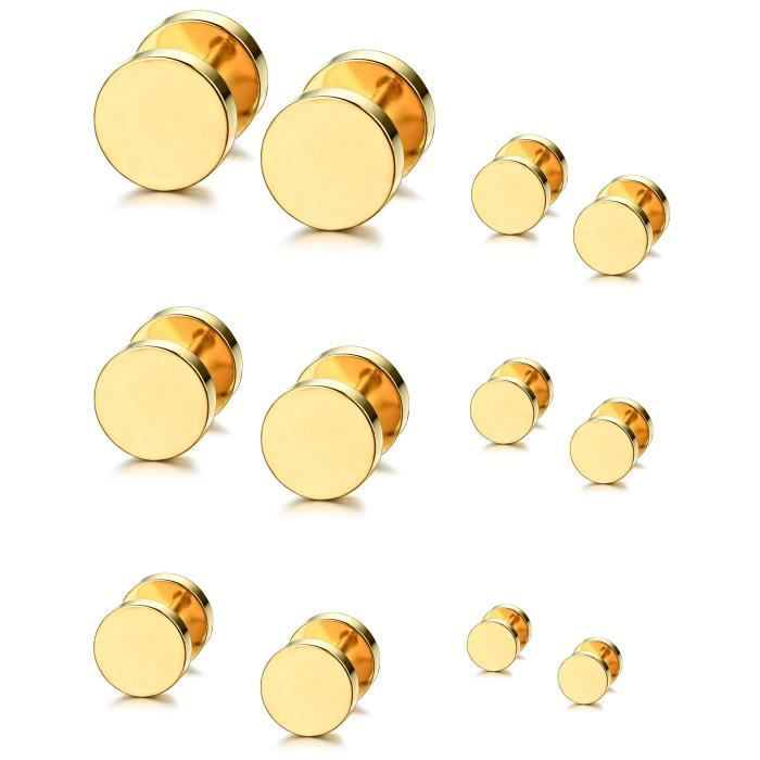 Womens 6 Pairs Stainless Steel Barbell Earrings Set 18g Ear Stud Piercing Earring For Plugs Tunnel I4D8G