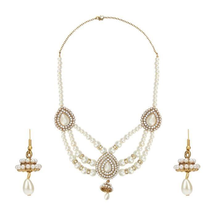 Femmes Antique mariée blanc Set métal en alliage avec collier bijoux et boucles doreilles pourQ0JGJ