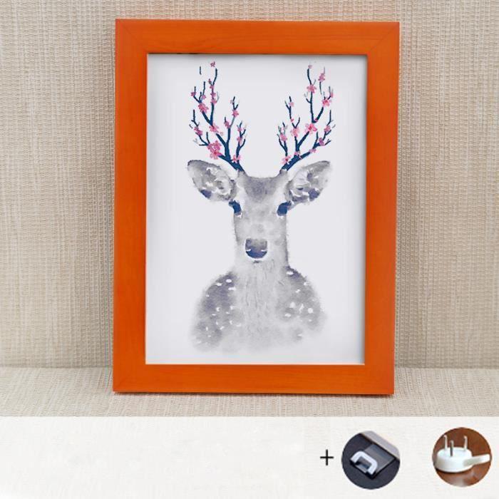 Cadre photo en bois avec cadre photo suspendu Cadre photo (orange, 4 x 6)