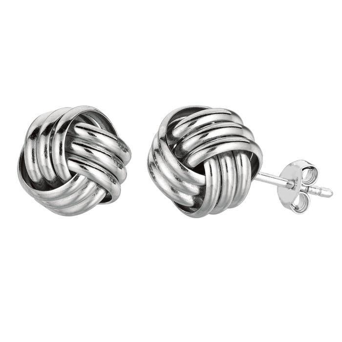 Argent sterling Rhodium finition 10mm brillant noeud d'amour boucles d'oreilles