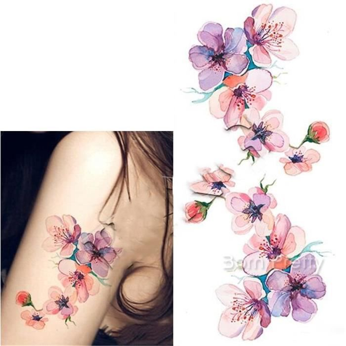 1 Pc Tatouages Ephemeres Tattoos Temporaires Impermeables Orchidee