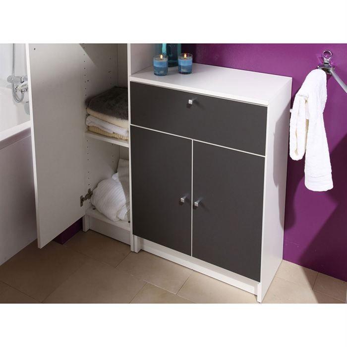 Slash meuble bas de salle de bain l 59 cm gris for Meuble salle de bain blanc et gris