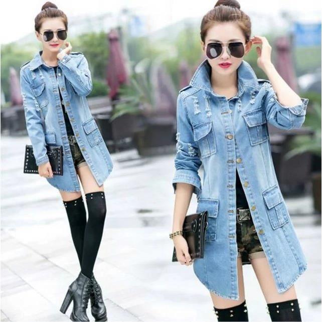 mode grande taille trous d sign veste femme manche longue denim veste milieu longue veste. Black Bedroom Furniture Sets. Home Design Ideas