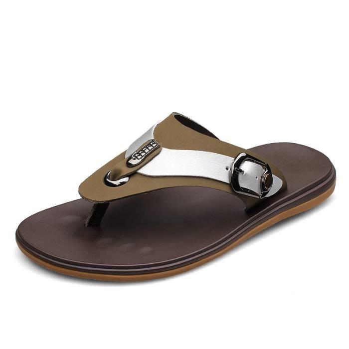 Hommes sandales pantoufles en cuir véritable peau de vache masculine estivale chaussures de plein air sandales en cuir suédé rQwvaZ7hU