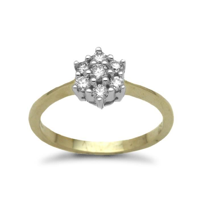 Jewelco London sans-conflit Femmes Solide Or Jaune 9k Grappe Rond Brillant J I1 Diamant Classique 7 Pierre Grappe Bague