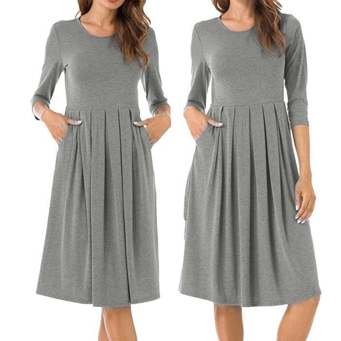 exquisgift®Femme solide plissée coude de poche couture côté genou-longueur robe GRIS~GYT71106172GYA