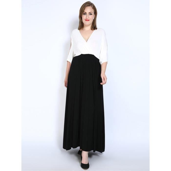 Couleur Robe col en V Femmes Bloc Plus Size Maxi Robe longue 5043054