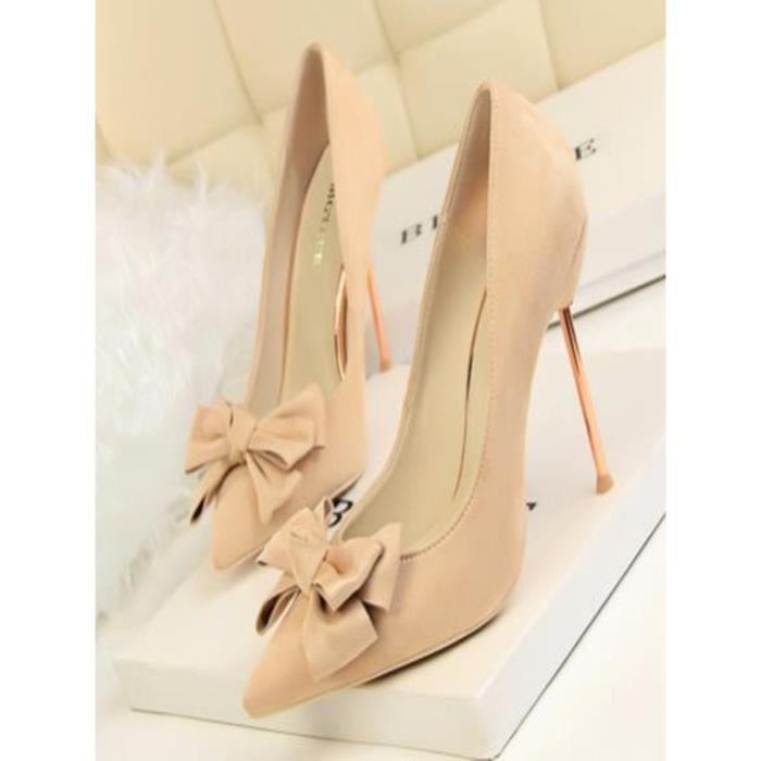 Escarpin Femmes Pompes talon mince élégant Faddish bowknot décoratives Pointu Toe Shoes 12797982
