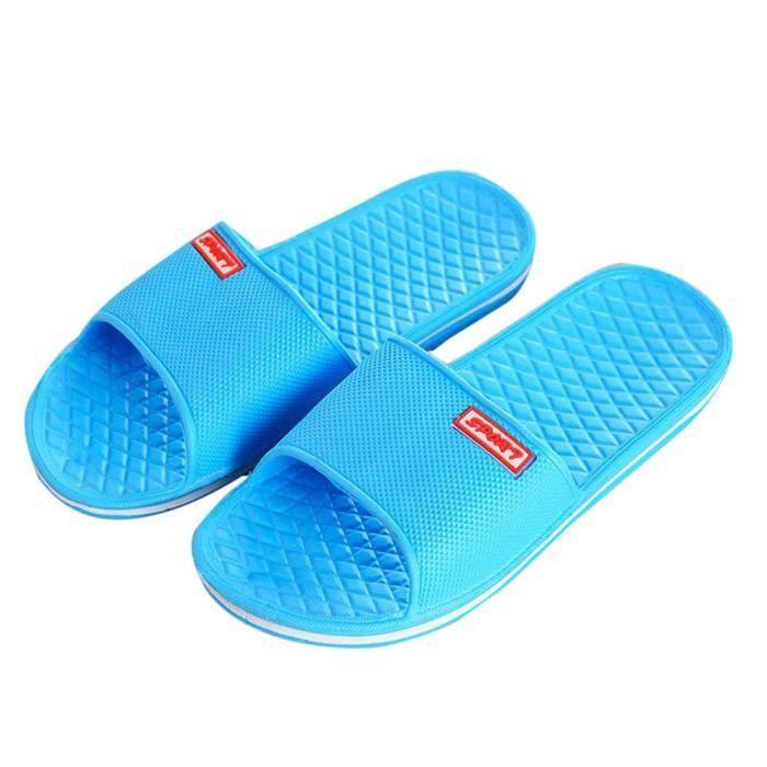 Hommes Solide Chaussons de bain plats pantoufles d'été intérieur et extérieur pantoufles Bleu foncé 8oUCSgr