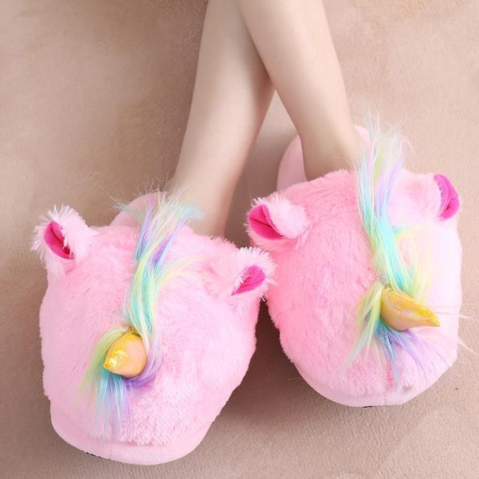 Homme Licorne Peluche Chaussure Chaussons Maison Femme Suople Pantoufles T7dvxq6w6