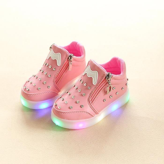 sport de enfants strass en de de de LED taille 36 dessin de course Baskets pour Chaussures fille lumineux mode animé 21 chaussures 7awn5xAtq