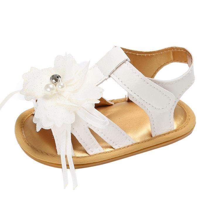 BOTTE Toddler Summer Girl Crib Chaussures Nouveau-Né Fleur Anti-slip Bébé Sneakers Sandales@BlancHM