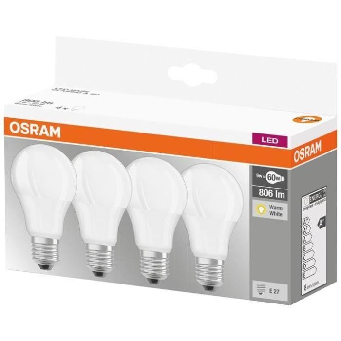 OSRAM Lot de 4 Ampoules LED E27 standard dépolie 9 W équivalent à 60 W blanc chaud
