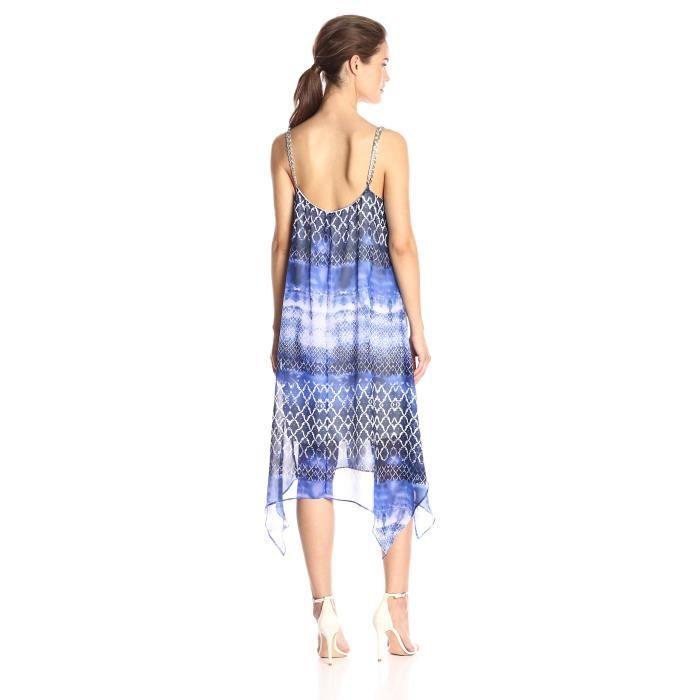 Ny Collection Robe en col imprimée imprimée pour femme avec ourlet en manche écharpe avec sangles en chaîne A38HP