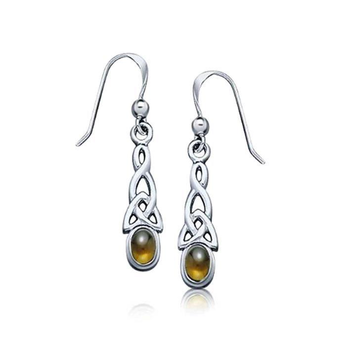 Bling Ambre Bijoux Celtiques Cache Noeuds Drop Boucles 925 Argent Sterling