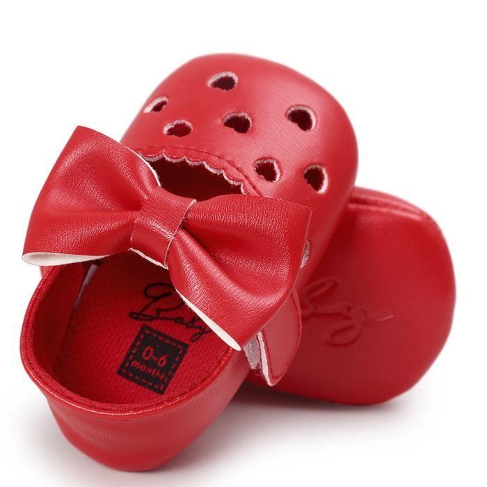 BOTTE Bébé fille évider Bowknot chaussures Casual chaussures Sneaker anti-dérapant chaussures souples@RougeHM