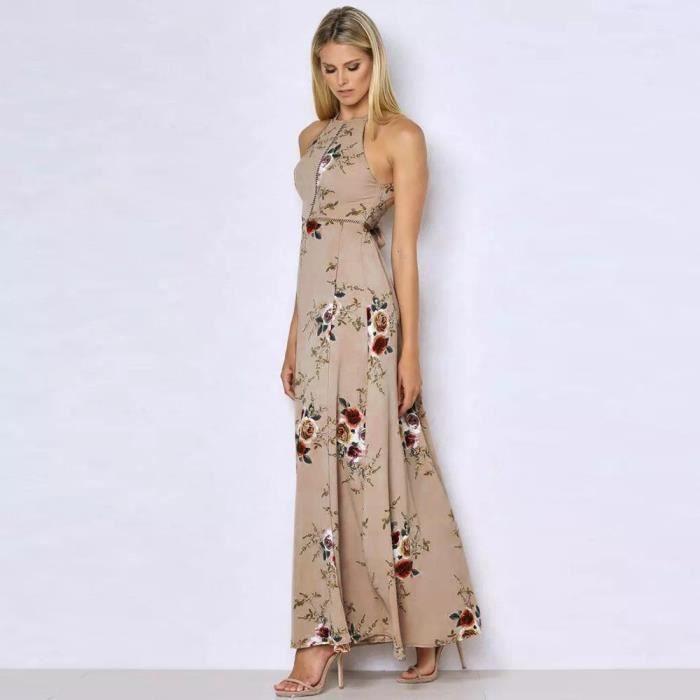 Vroenment®Les femmes florales en mousseline de soie sans manches dos nu Boho Maxi robe de soirée de plage@zf513