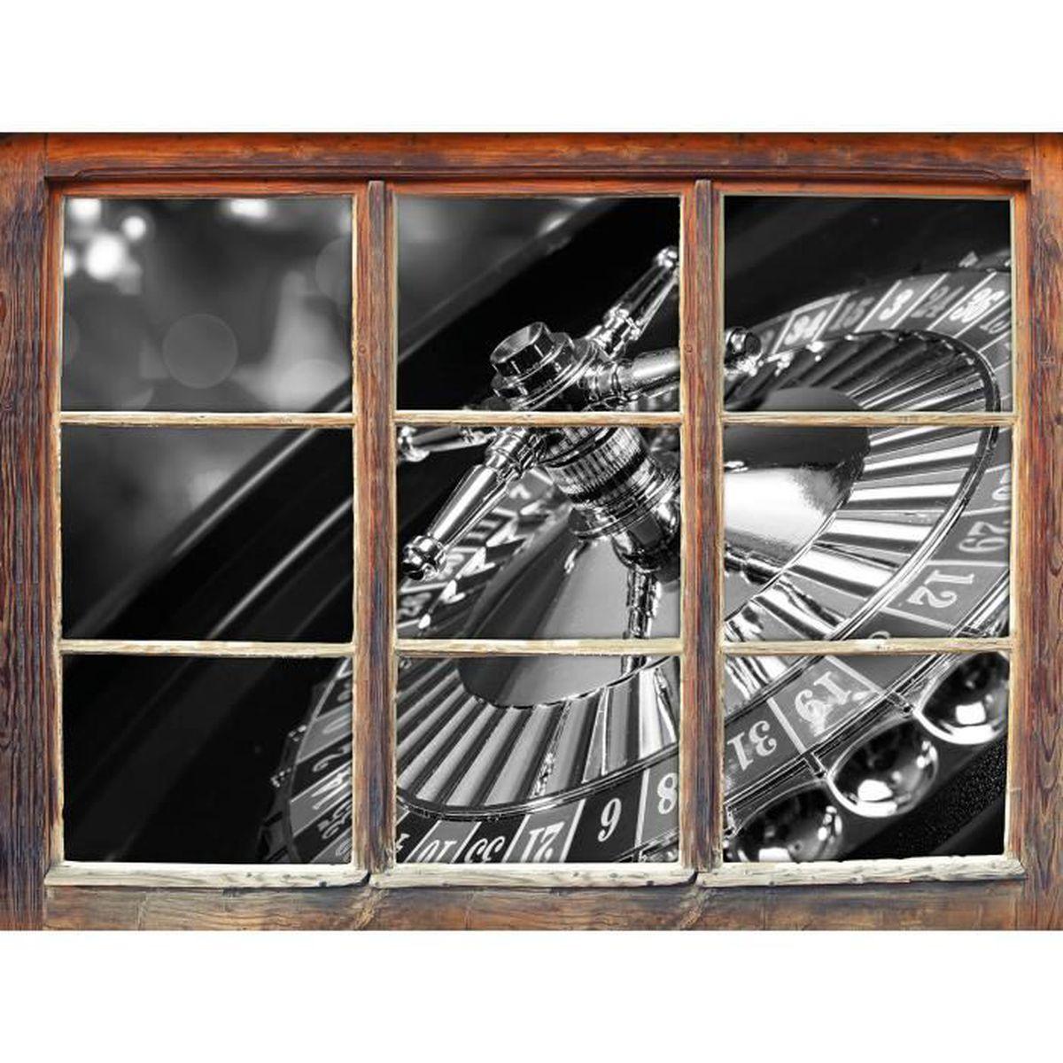 table de roulette Art B & W fenêtre en 3D look, mur ou format ...