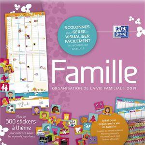OXFORD Calendrier FAMILY 2018 - 30 x 30 cm - 5 colonnes