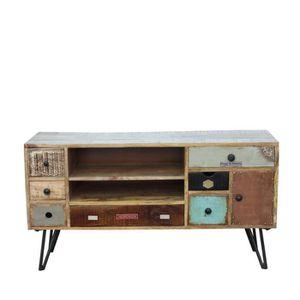 meuble tv meuble tv vintage en bois fusion couleur bois - Vente Meuble Tv Bois