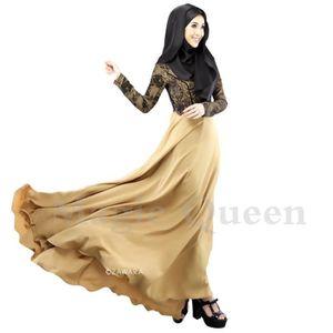 ROBE robe femme musulmane satin  en dentelle encolure r