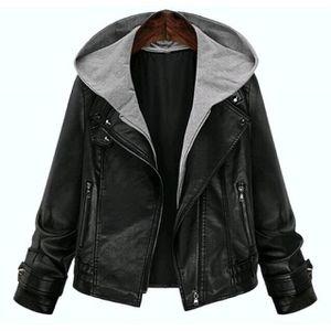 510b0e9ddd3 MANTEAU - CABAN Automne Hiver Vêtements en cuir Femme Cuir PU Mant