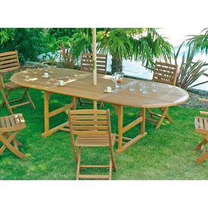 Table ovale en Eucalyptus 260x110 cm avec rallonge - Achat / Vente ...