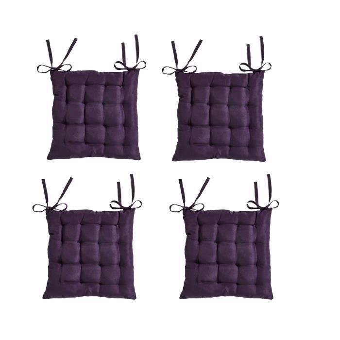TODAY Lot de 4 assises matelassées 16 points 100% coton 40x40 cm purple