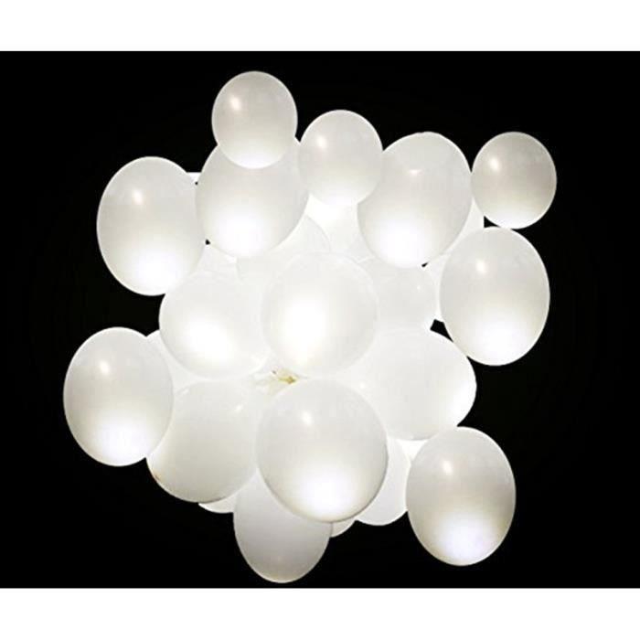BALLON DÉCORATIF  Lot de 50 Pcs Ballon LED Lumineux Blanc Décoration