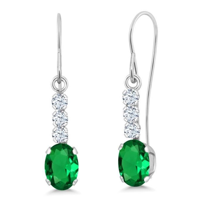 Womens 1.04 Ct Green Simulated Emerald White Created Sapphire 10k White Gold Earrings NZFYF