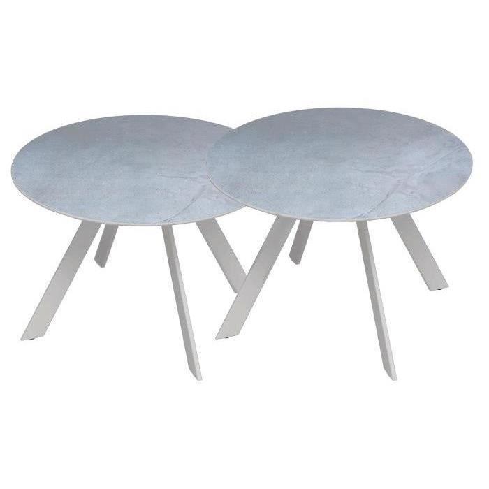 Lot de 2 tables rondes base en métal avec plateau en grès - Blanc