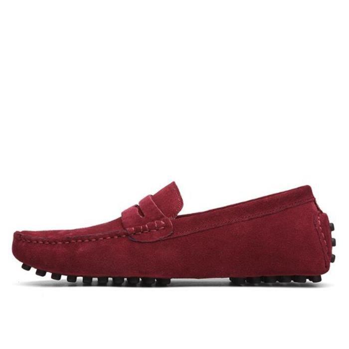 Moccasin hommes doux agréable En Cuir Chaussures randonnée rétro Nouvelle Mode De Marque De Luxe Durable Grande NiN47M6pUe