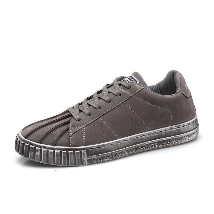 Rouge noir Chaussures Sneakers Hommes gris marron De Toile Coquilles Casual ZqfPYq