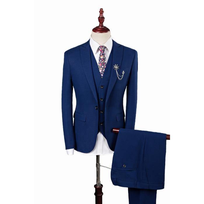 Costume 3 pièces homme couleur pure coupe slim cintrée gris anthracite-bleu  marine mariage soirée professionnel d55d9c49ec71