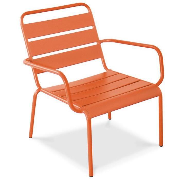 Fauteuil de jardin bas en métal Orange - Achat / Vente fauteuil ...