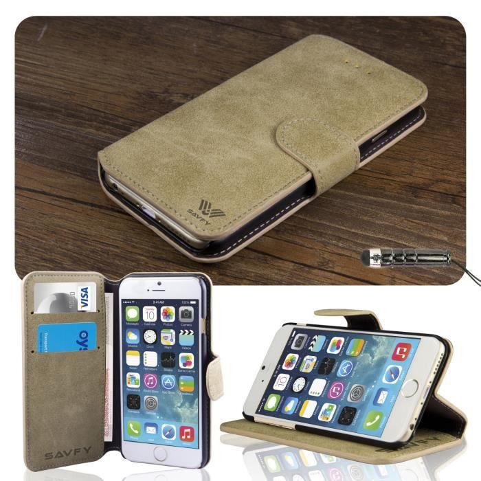 COQUE - BUMPER Coque iPhone 6 plus 5.5 Portefeuille Rabat CUIR