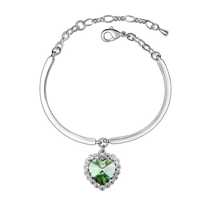 Bracelet coeur ocean cristal swarovski elements plaqué or blanc Couleur Vert