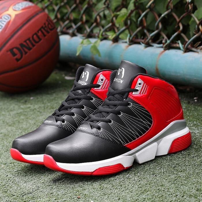 Bottes pour Mixtenoir rouge 44 Haut Haut Bas épais de basket-ball masculin_16308