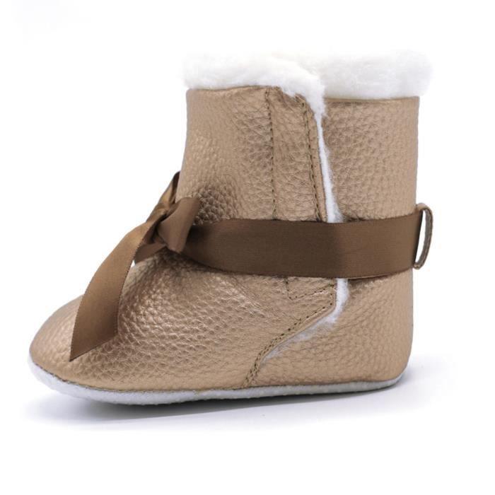 Gar Bowknot Chaussures De Doux Bottillons on Bb Nourrisson Rchauffement Bottes Enfant Crib Neige kaki Fille xX0775