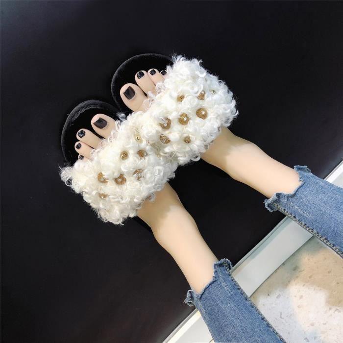 Confortable Blanc De Chaussures Fond Toes Plat À Pantoufles Croix Femmes Mode Chaud Accueil Fourrure 6U5nwxTq4O