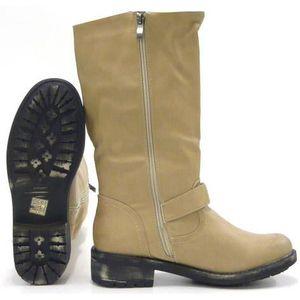 Robuste femmes chaussures bascule Biker rivet bottillon kaki 37 0Xk51C