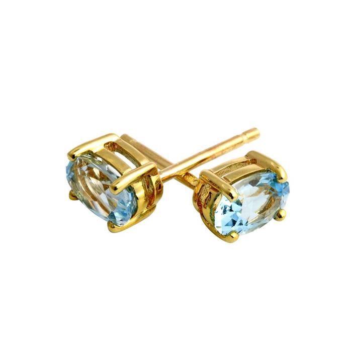 135e0918-12 - Boucles Doreille Femme - Or Jaune 375-1000 (9 Cts) 0.705 Gr - Topaze Bleue PM4LK