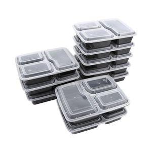 PLAT - PLATEAU JETABLE 10pcs 3 compartiments Récipient de préparation de