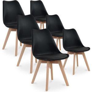 CHAISE Lot de 6 chaises CATHERINA - Coloris : noir - Styl